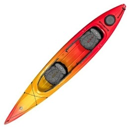 red orange yellow cove 14.5T perception kayak fluid fun canoe and kayak