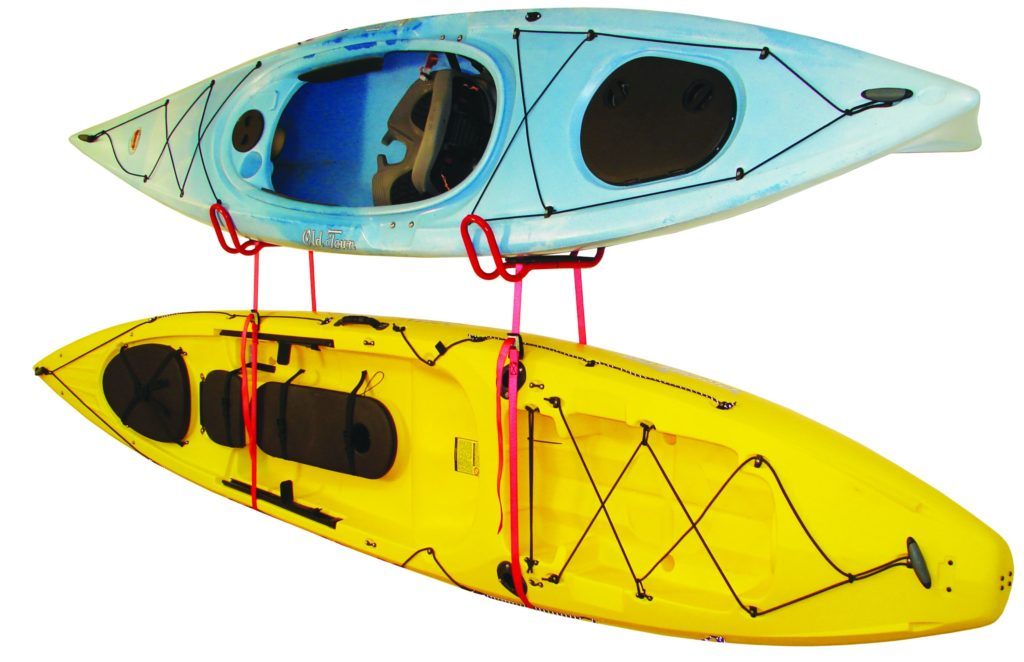 Wall Mounts holding a kayak and canoe
