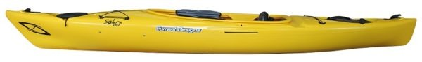 side view yellow color solara 120 kayak fluid fun canoe and kayak