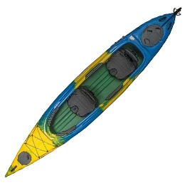 green blue and yellow solara 145T current designs kayak fluid fun canoe and kayak