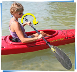 woman showing holding paddle with both hands fluid fun canoe and kayak