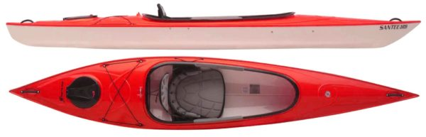 red color santee 126 sport kayak fluid fun kayak and canoe