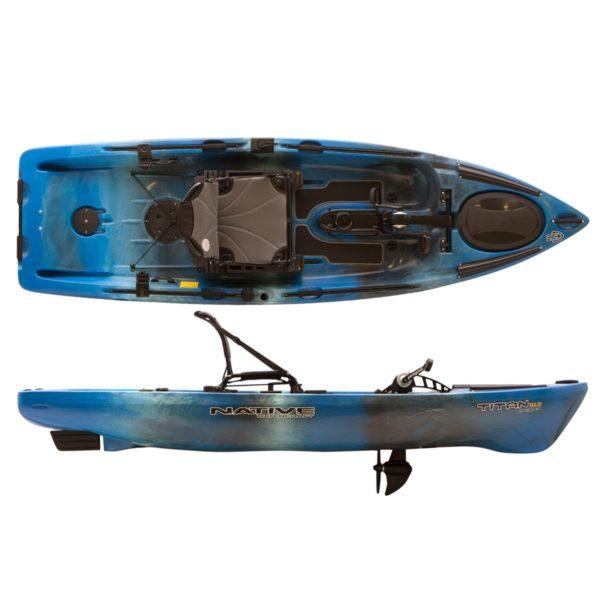 top and side views titan propel 10.5 kayak fluid fun canoe and kayak