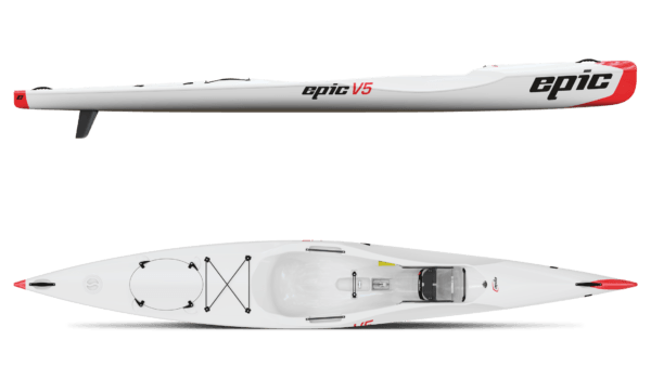 side and top views epic v5 kayak fluid fun canoe and kayak